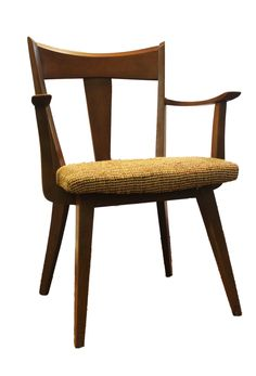 Shipping is not included in listing price, please contact us for more information.  MID CENTURY DANISH MODERN HEYWOOD WAKEFIELD ARM CHAIR  Offered is MID CENTURY DANISH MODERN HEYWOOD WAKEFIELD ARM CHAIR.  The chair is in good condition. The seat is cloth and is also in good condition. The chair do