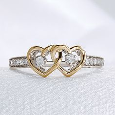 Sterling Silver 0.17ctw. 2 Heart Promise Ring