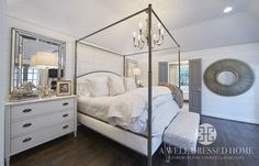 Master Bedroom by A Well Dressed Home, LLC. To read more about this project, please visit: http://awelldressedhome.com/3931-our-farmhouse-renovation-reveal-part-5-the-master-suite/