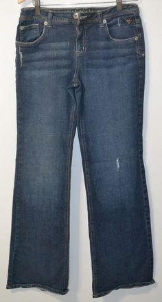 JUSTICE GIRLS Jeans Super Cute Stretch Simply Low boot cut Blue Jeans 16 1/2  #Justice #BootCut #Everyday