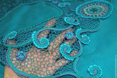 """Купить Комбинированное платье """"Ундина"""" - темно-бирюзовый, орнамент, морская волна, бирюза, ирландское кружево"""