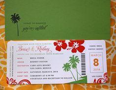 Yellow, Green & Coral Hibiscus, Palm Tree & Swirls Airline Ticket Wedding Invitations