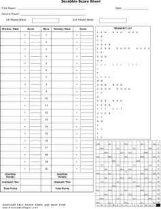Scrabble Score Sheet Paper   And So Many More Printable Paper Sheets From  Game Score Cards