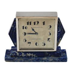 French Art Deco Clock with Lapis Argentina circa 1930s