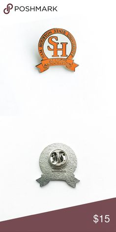 "Vintage San Houston University Pin Vintage Sam Houston University Alumni Association Enamel Pin  • true vintage • 1"" x 1"" • colors: silver, orange, white • tags: hat, lapel, jacket, tie, bag, backpack, college, graduate, graduation, SH, banner, major, minor, student, professor, alumnus, accessory, seal, school • all of the pins I sell are vintage & may contain minor nicks, imperfections, or oxidation Vintage Accessories"