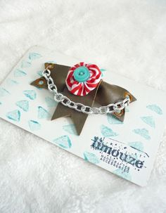 Taupe Vinyl Bow with Circus Pinwheel Brooch  Metal by limouze