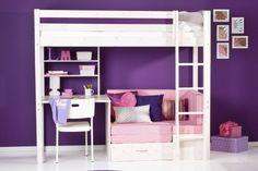 bankbed en bureau Casa. hoogslaper met bureau. Bunk bed with desk. #kinderkamer #nursery
