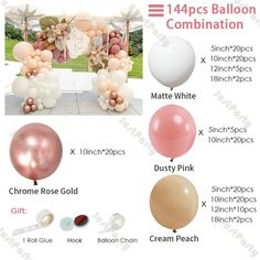 Diy Garland, Garland Wedding, Diy Wedding Decorations, Balloon Garland, Baby Shower Decorations, Balloon Decorations, Rose Gold Balloons, White Balloons, Ballon Arch
