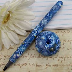 Handmade Polymer Clay Pen with Pen Holder , by CAG