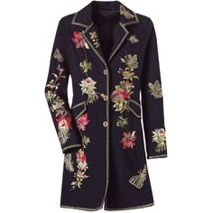 Embroidered Blossoms Coat - New Age & Spiritual Gifts at Pyramid Collection (€84) found on Polyvore