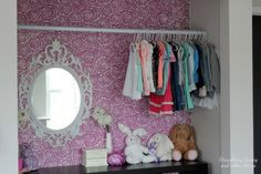 Cutting Edge Stencils shares a DIY stenciled closet idea in a girl's bedroom using the Roses Allover Stencil in Pantone's radiant orchid. Stencil Patterns, Wall Patterns, Girl Nursery, Girl Room, Cutting Edge Stencils, Pink Home Decor, Stencil Diy, Rose Design, Floral Wall