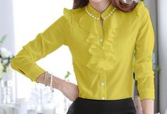 Elegant Long Sleeve Ruffle Neck Blouse