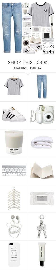 """Grey T-shirt SHEIN"" by sandra-smileska ❤ liked on Polyvore featuring White House Black Market, adidas, Branca, Pantone, Bunn, Dosa, Polaroid, Stila, Bobbi Brown Cosmetics and Wandschappen"