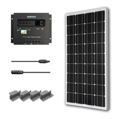 100-Watt Solar Panel with Charge Controller and Z Mounting Brackets-Outdoor > Solar Products-Loluxe