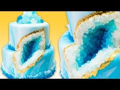 Chef Sticks Rock Candy Onto A Blue Wedding Cake For A Stunning Geode Design