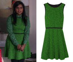 """Mindy's emerald green dress from """"Girl Crush"""". /// Tibi Tweed Knit Sleeveless Dress (was $345, sold out) There's a long-sleeved version he..."""