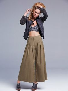 Free People FP ONE High Waisted Pintuck Culottes at Free People Clothing Boutique