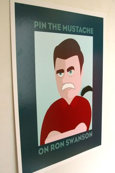 Pin the Mustache on Ron Swanson for your Parks and Recreation Party. Free printable.