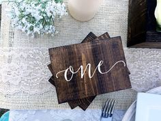 Rustic Calligraphy Wooden Table Numbers on wooden blocks