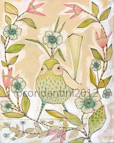 Girl's room/nursery idea: whimsical watercolor painting of a cute blue bird  8 x 10 by corid, $20.00