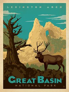 Great Basin National Park - Anderson Design Group has created an award-winning series of classic travel posters that celebrates the history and charm of America's greatest cities and national parks. Founder Joel Anderson directs a team of talented Nashville-based artists to keep the collection growing. This print celebrates the rugged beauty of Great Basin National Park.