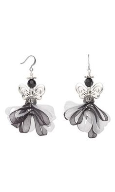 Earrings with Organza Ribbon, Antiqued Silver-Plated Pewter Beads and SWAROVSKI ELEMENTS