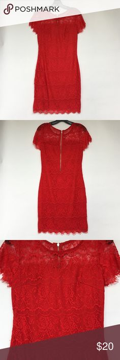 Red Laced Sheer Sweetheart Cocktail Dress I only wore this once. Perfect condition. It has a sheer neckline that turns into a sweetheart shape. It's form fitting and stretchy as well. Very comfy and flattering. Tea n Cup Dresses