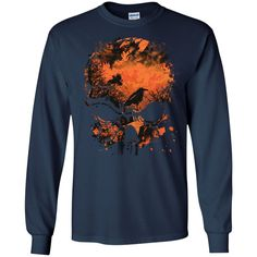 Wicked Skull Crows And Trees - Distressed Grunge Halloween T-Shirt