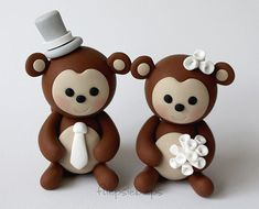 Custom Monkey Wedding Cake Topper by fliepsiebieps on Etsy