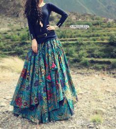 2017 2015 Flower Print Long Floor Length Cotton Linen Autumn Skirt For Women Winter Irregular Floral Plus Size Bohemian Skirts From Jamp, $76.75 | Dhgate.Com