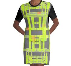 Graphic T-Shirt Dress Buy 'Symmetrical figure simmilar to printed circuit board, map or algorithm version2 glowing yellow' by M-Lorentsson as a Classic T-Shirt, Graphic T-Shirt, Women's Chiffon Top, Contrast Tank, Graphic T-Shirt Dress, Sticker, iPhone Case, iP...