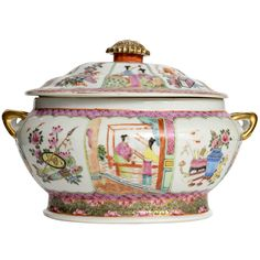 Chinese Famille Rose Tureen with Cover, 19th Century | From a unique collection of antique and modern centerpieces at http://www.1stdibs.com/furniture/dining-entertaining/centerpieces/