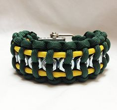Paracord survival bracelet with hex nuts Green Bay Packers ~ choose your football team color for a custom cuff