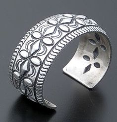 Darryl Becenti (Navajo) - Repoussé & Stamped Sterling Silver Cuff Bracelet #35803 $435.00 at Castle Gap Jewelry