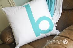 "I LOVE, LOVE, LOVE this monogramed pillow! I have lots of pillows and I've been wanting to recover them to change the look for so long. I'm so going to make one with the letter ""d"" on it.  #howdoesshe"
