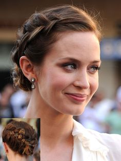 emily blunt with plaited bun Braided Hairstyles Updo, Plaited Updo, African Hairstyles, Celebrity Hairstyles, Pretty Hairstyles, French Plait Hairstyles, Coachella, Side Plait, Blunt Hair