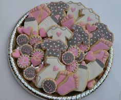 Pink & Grey girl baby shower | Cookie Connection