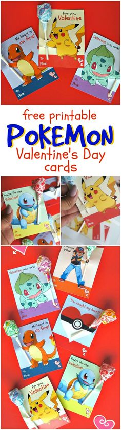 Free printable Pokemon Valentine's Day cards - Slide in lollipops so it look slike the characters are holding them, these are so much fun for kids to pass out at school! Pikachu, Squirtle, Charmander, Bulbasaur, trainer and the pokeball
