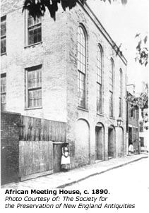 The African Meeting House was built in 1806 to house the first African Baptist Church of Boston (a. First Independent Baptist Church) and it is now the oldest extant black church building in America. Old Country Churches, Old Churches, William Lloyd Garrison, The Invention Of Wings, Boston Museums, Black Church, Underground Railroad, Frederick Douglass, Mystery Of History