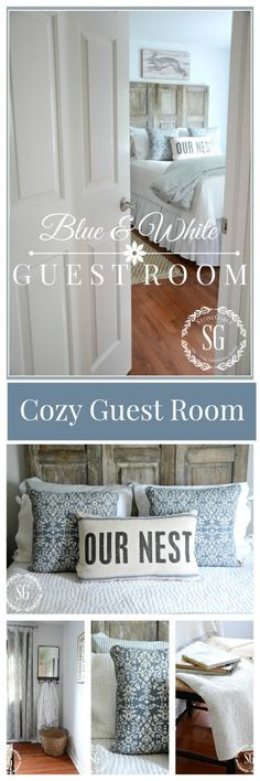 BLUE AND WHITE GUEST ROOM A cozy guest room with a vintage feel! Lots of ideas!