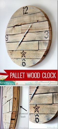 Use Pallet Wood Projects to Create Unique Home Decor Items Wall Clock Wooden, Rustic Wall Clocks, Wood Clocks, Rustic Walls, Pallet Clock, Pallet Wood, Pallet Art, Pallet Home Decor, Used Pallets