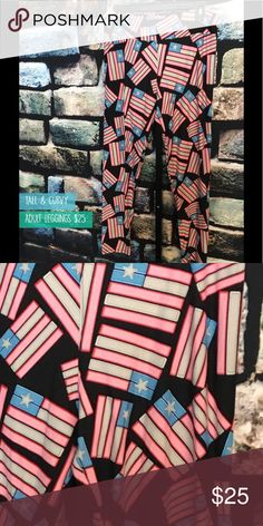 LuLaRoe Americana Capsule Leggings NWT American flag tall and curvy Leggings. LuLaRoe Leggings come with tags that are not attached to protect the delicate fabric. I will send unattached tags with your leggings. LuLaRoe clothing should be washed inside out on cold gentle cycle and hung to dry. This will keep the fabric in good condition. LuLaRoe Pants Leggings