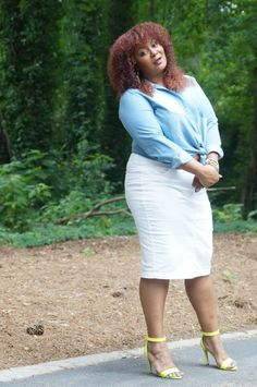 Denim on Denim on a Plus Size Denim Skirt on The Curvy Fashionista- Marie Denee
