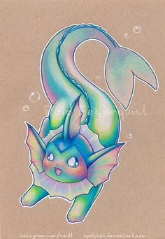 Colorful Vaporeon by opalchan on DeviantArt