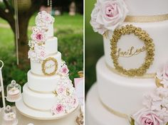 Gold rose tiered wedding cake by Anna Tyler http://www.annatylercakes.co.uk/