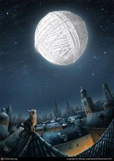 The moon is made of yarn, not cheese.