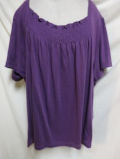 Only Necessities NWOT Plus Size Plum Knit Easy Care Smock Top 5X…