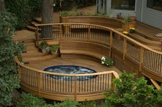 Deck and hot tub - maybe have hot tub on not in deck, with steps for easier access for the challenged ones. ;)