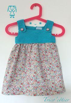 Robe pour petite fille au crochet et à la couture - Fait main - Dress baby girl - Aglaé