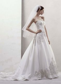 Oleg Cassini Wedding Dress: Mikado Ball Gown with Beaded Appliques Style CWG436: